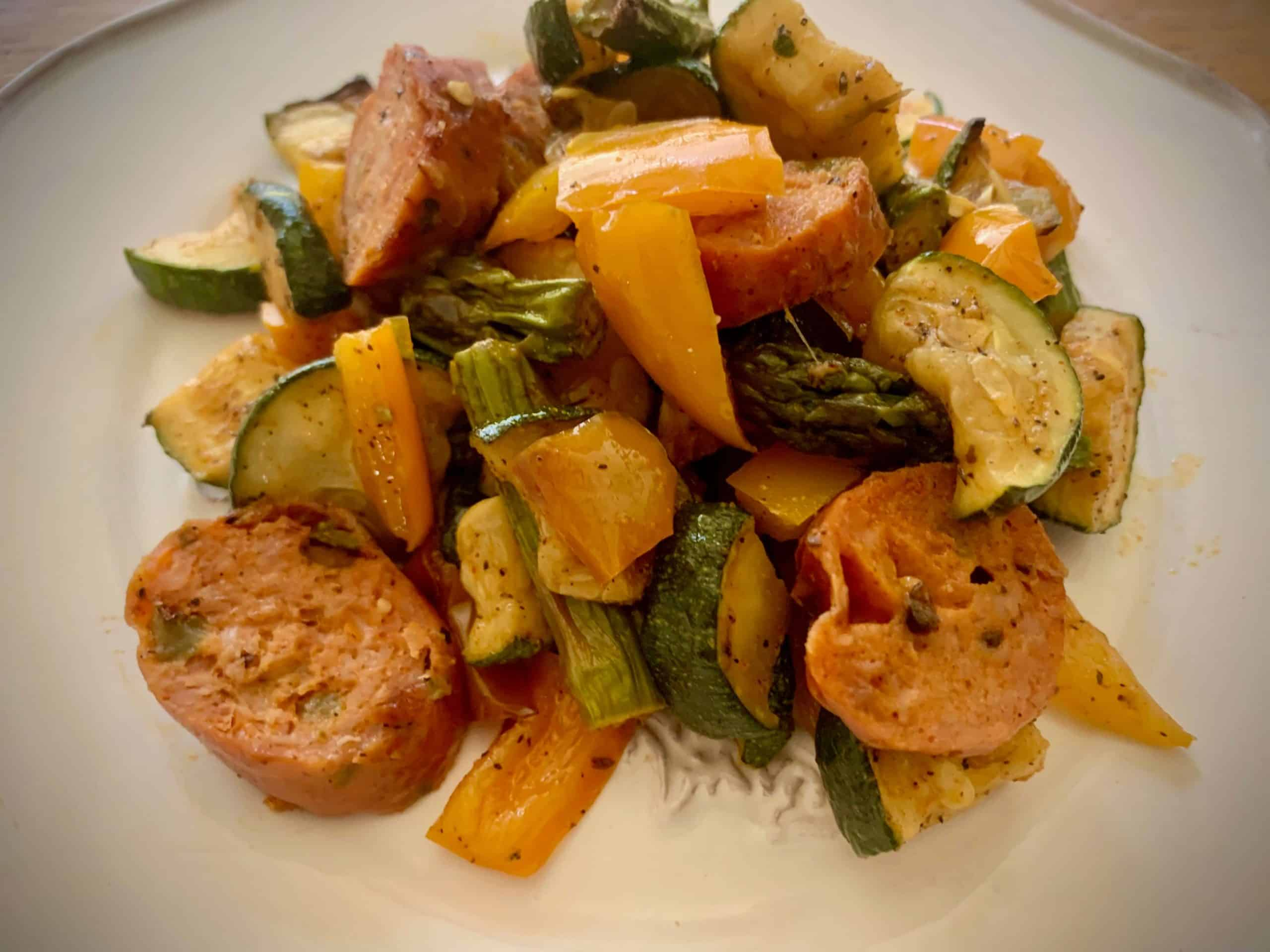 Sweet and Spicy Sausage Veggie Grill